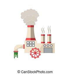 químico, vetorial, fábrica, ilustração