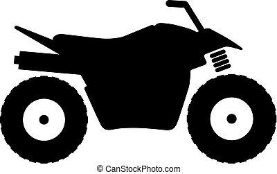 quad, alle-terrein, fiets, (atv), voertuig