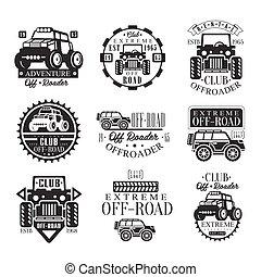quad, bicicletta, noleggio, club, set, di, emblemi, con, nero bianco, quadricycle, atv, fuoristrada, trasporto, silhouette
