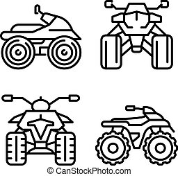 Quad bike icons set, outline style - Quad bike icons set....