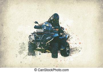 quad bike illustration on old paper