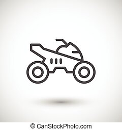 Quad bike line icon isolated on grey. Vector illustration