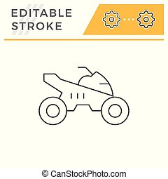 Quad bike line icon isolated on white. Editable stroke....