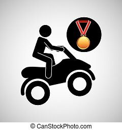 quad bike medal sport extreme graphic vector illustration...
