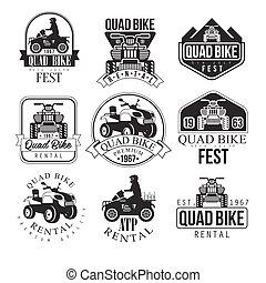 Quad Bike Rental Service Black And White Emblems