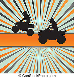 Quad bike silhouette vector background for poster