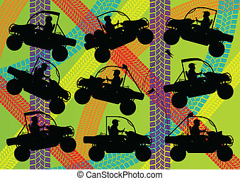 Quad bike silhouette vector background