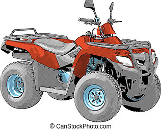 Quad bike - Four-wheel motorcycle. Vector illustration.