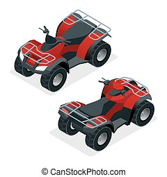 Quad bikes isometric icons set vector graphic illustration -...