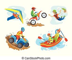 Quad Biking Hobby of Man, Motorbike Bungee Jumping