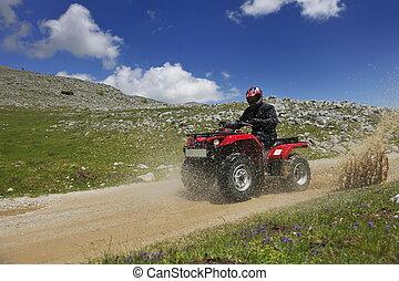 quad, cavalcade, roues, relâcher