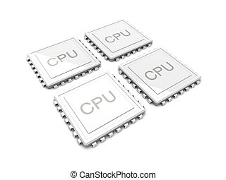 Quad core CPU - 3D rendered Illustration. Two core CPU. ...