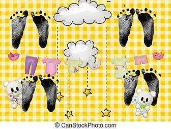 Quad Footprints - Quadruplet baby footprints on yellow ...