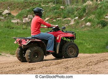 (quad), grande, all-terrain, mujeres, vehículo