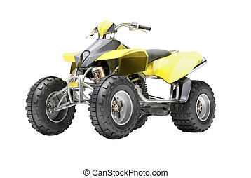 Quad isolated - Yellow All Terrain Vehicle isolated on white...
