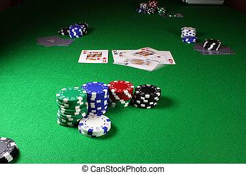 Quad Kings - Action shot on a poker table - Kings begin ...