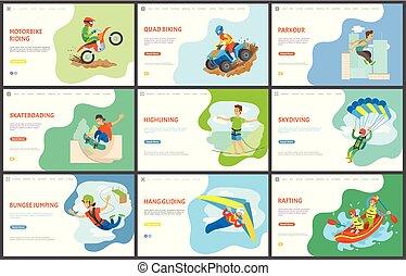 quad, motocicletta, trasportando zattera, parkour, biking