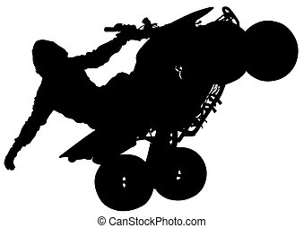 Quad races - Silhouettes athletes ATV during races on white...