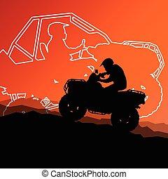 quad, terreno, motocicleta, veículo