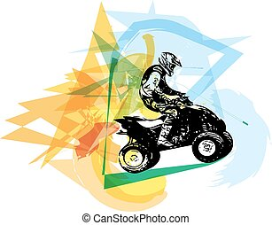 quad, vélo, illustration