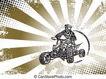 quad, vélo, retro, fond, affiche