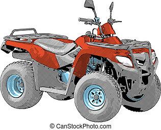 quad, vektor, -, bike