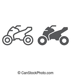 Quadbike line and glyph icon, bike and extreme, ATV motorcycle sign, vector graphics, a linear pattern on a white background.