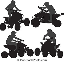 Quadbike Silhouette on white background