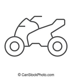 Quadbike thin line icon, bike and extreme, ATV motorcycle...