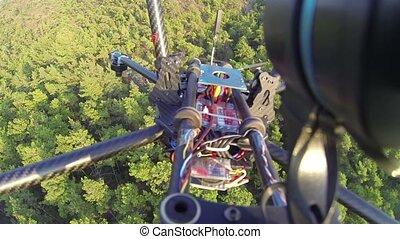 quadcopter, 150, sur, lent, contrôlé, krach, motion., arbre...