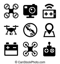 Quadcopter and Drone Icons Set on white background. Vector