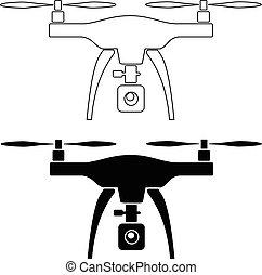 quadcopter, appareil photo, rc, bourdon