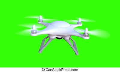 quadcopter, arrière-plan vert