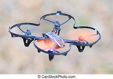 quadcopter, avlägsen, mellersta luft, drönare, kontrollerat