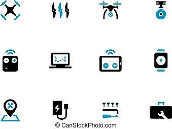 quadcopter, bakgrund., vit, duotone, ikonen