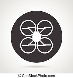 Quadcopter black round vector icon