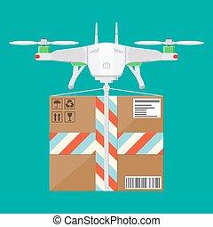 quadcopter, box., zangão