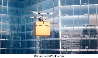 quadcopter, centrum, zakelijk, brievenbus, animatie, 4k,...