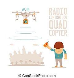 quadcopter, contrôle, concept, éloigné, bourdon, vecteur,...