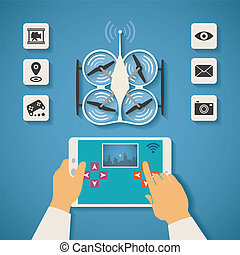 quadcopter, controle, conceito, tabuleta, vetorial, ar, pc, ...