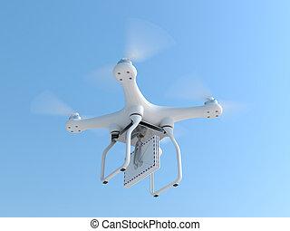 quadcopter, courrier, porter, enveloppes, bourdon