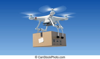 Quadcopter Delivering a Package in Blue Sky. Looped 3d...