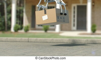Quadcopter Delivering a Package to the Place of Destination....