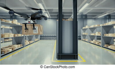 Quadcopter delivers a package from the warehouse. - Loopable...