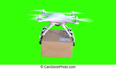 Quadcopter delivers a package, seamless looping 3d animation...