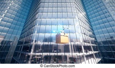Quadcopter delivers mailbox into business center 4k 3d animation