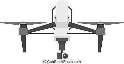quadcopter, drönare, vektor, isolerat