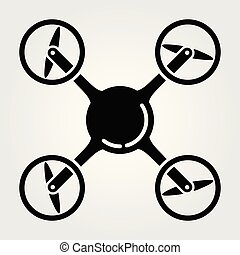 Quadcopter, drone icon isolated on white background. Vector illustration
