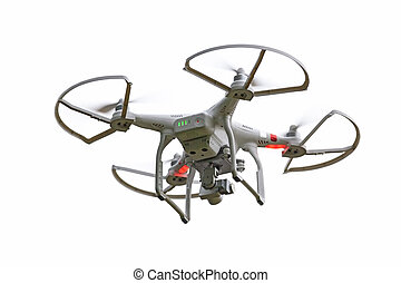 Quadcopter Drone - Quadcopter drone isolated on a white...