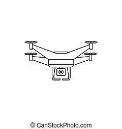 Quadcopter drone with camera icon, outline style